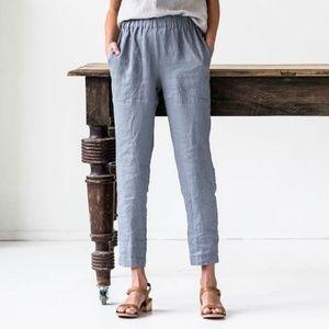 Not Perfect Linen Pants - Not Perfect Linen Genova pant in metallic grey, L